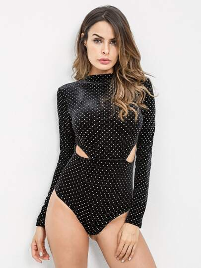 Cut Out Side Dot Print Bodysuit