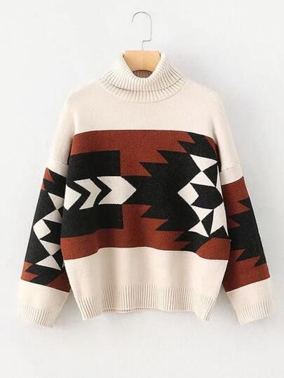 Geometric Pattern Turtleneck Sweater