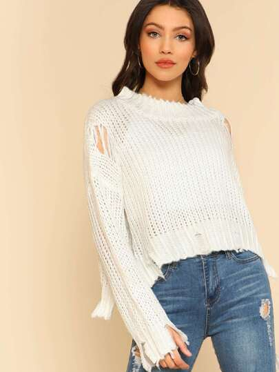 Distressed Mock Neck Knitted Crop Top WHITE