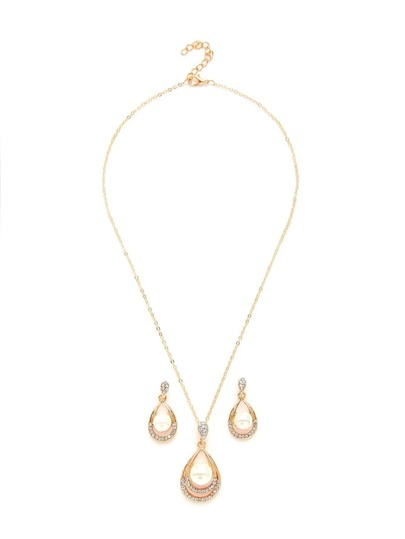 Water Drop Design Necklace & Earring Set With Jewelry
