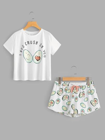 Conjunto de pijama con estampado y lazo en la parte delantera