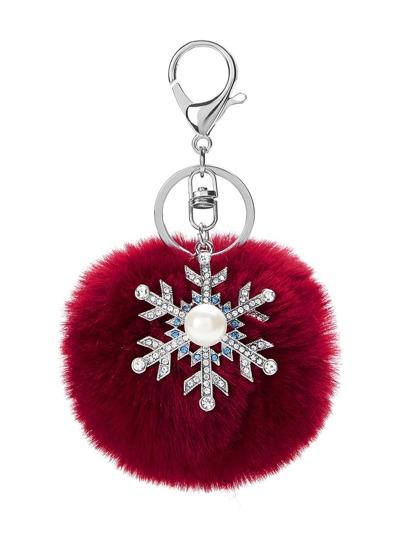 Christmas Pom Pom & Snowflake Keychain With Jewelry