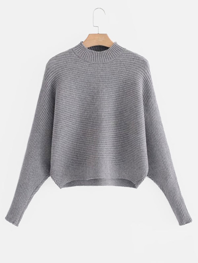 Dolman Sleeve Rib Knit Sweater