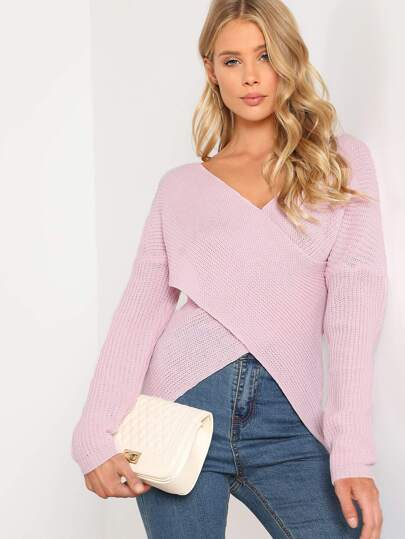 Cross Front Knitted Sweater DUSTY PINK