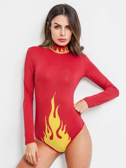 Fire Pattern Mock Neck Bodysuit