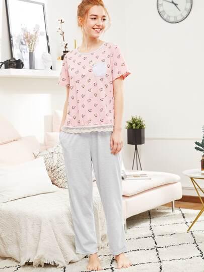 Conjunto de pijama estampado con encaje