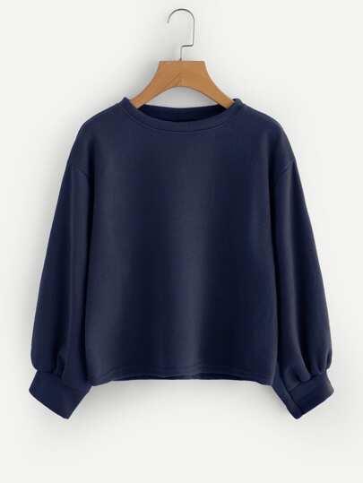 Drop Shoulder Lantern Sleeve Ribbed Sweatshirt