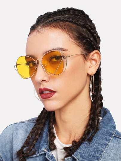 Tinted Lens Asymmetrical Frame Sunglasses