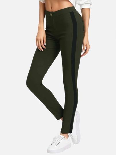 Pantaloni stretti di blocco di colore