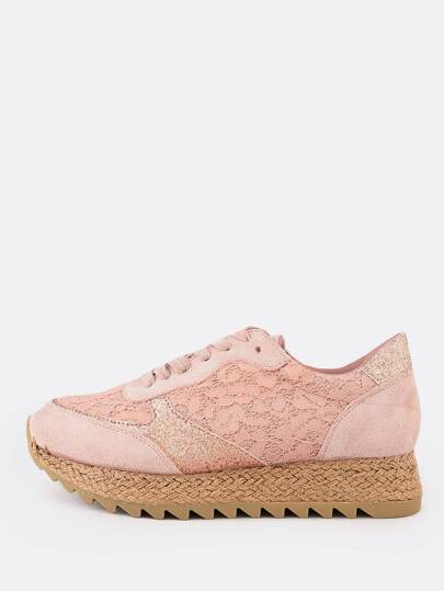 Lace & Glitter Accent Platform Sneakers PINK