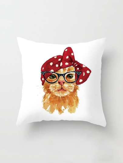 Cat & Bow Print Pillowcase Cover