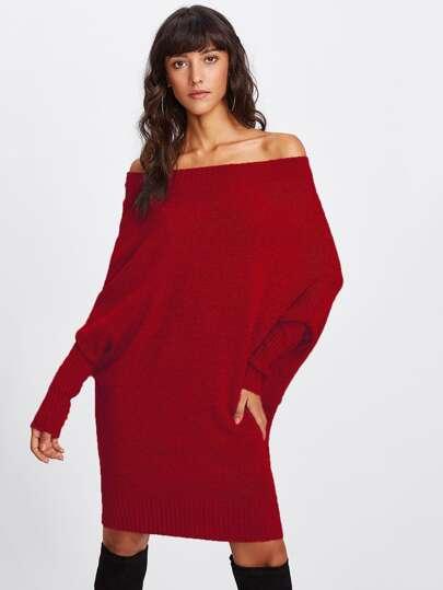 Off Shoulder Batwing Sleeve Sweater Dress