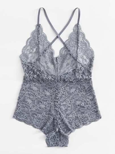Scallop Trim Embroidered Flower Lace Teddy