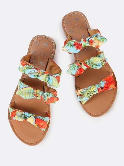 Triple Bow Slip On Sandals BLACK ORANGE