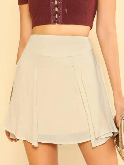 Chiffon Ruffle Mini Skirt CREAM