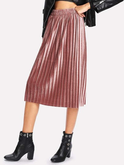Metallic Box Pleated Skirt