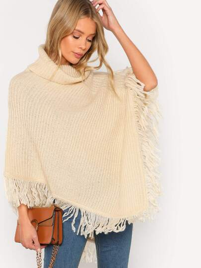 Knitted Turtleneck Poncho with Fringe Detail CREAM