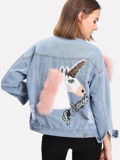 Cartoon Embroidered Faux Fur Contrast Ripped Denim Jacket