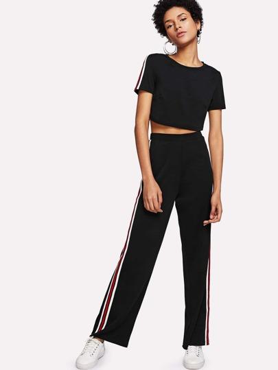 Striped Side Crop Top & Pants Set