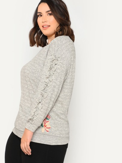 Floral Applique Striped Sweater with Ruffle Trim BLACK IVORY