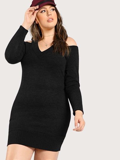 Cold SHoulder Long Sleeve Dress BLACK