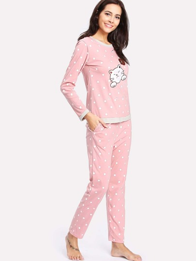Contrast Trim Cartoon Embroidered Pullover & Pants PJ Set