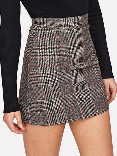 Wales Check Zip Back Skirt