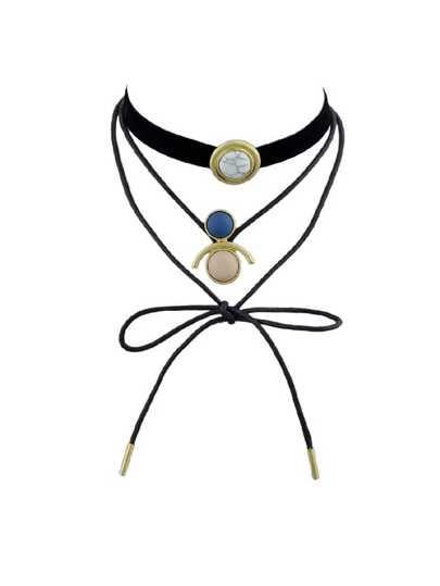 2Pcs/Set Tattoos Choker Black Pu Leather Choker Velvet Necklace