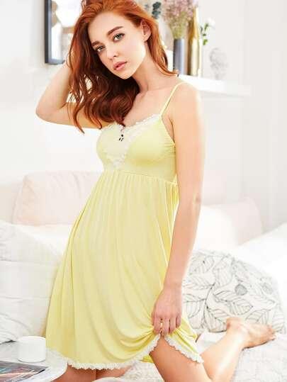 Contrast Lace Trim Cami Night Dress