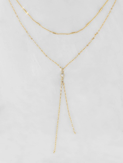 Double Layered Lariat Necklace GOLD