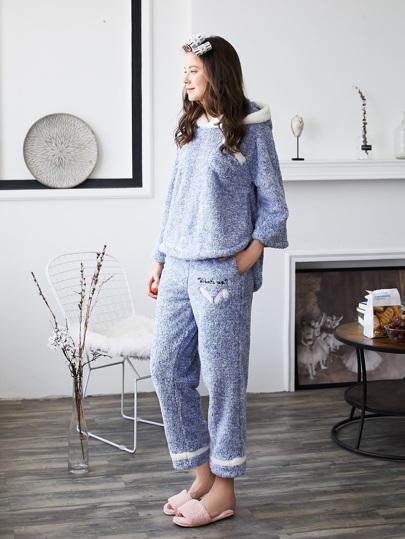 Contrast Trim Plush Hooded Top & Pants Pajama Set