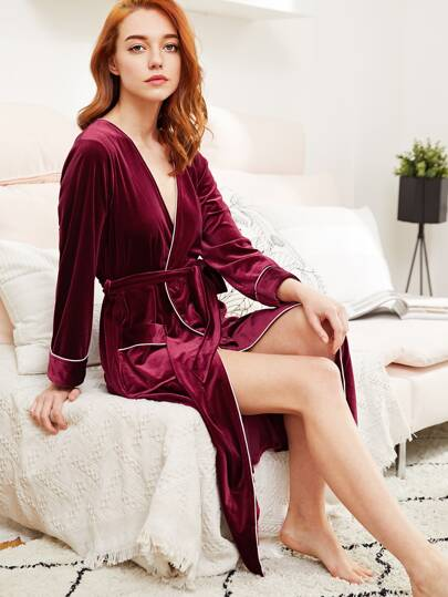 Contrast Binding Self Tie Velvet Robe