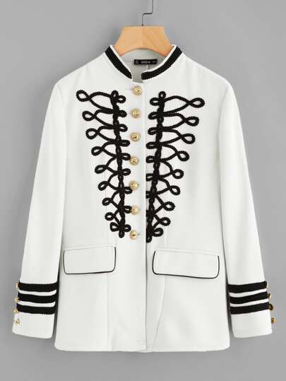 Silver Button Contrast Braided Applique Jacket