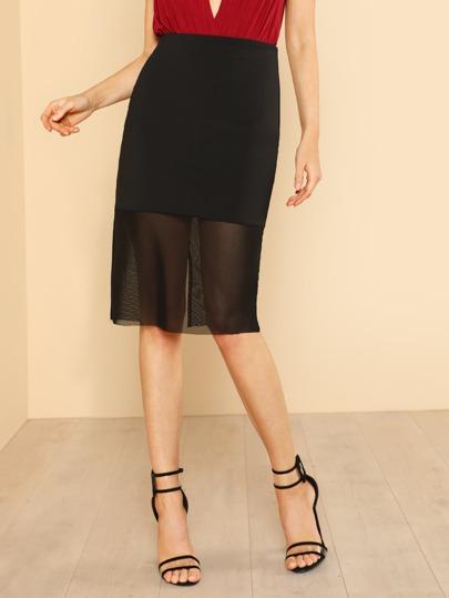 Mesh Underlay Pencil Skirt BLACK