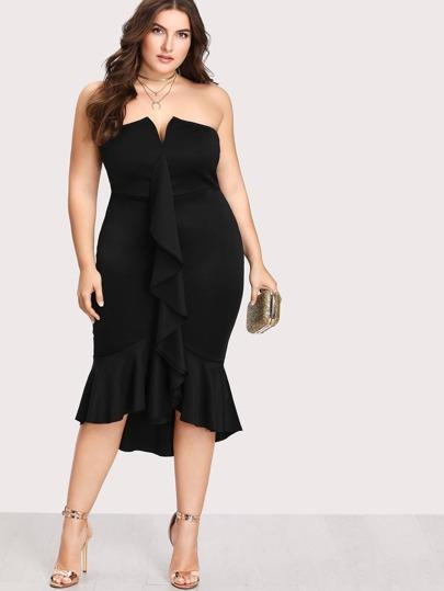 Kleid mit V Cut und Raffung