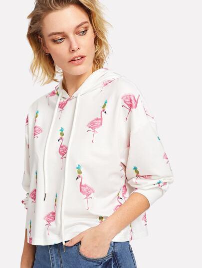 Hoodie mit Flamingomuster und sehr tief angesetzter Schulterpartie