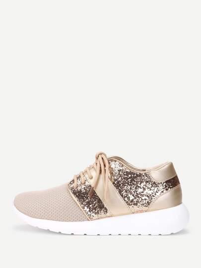 Zapatillas con cordón con diseño de lentejuelas