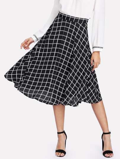 Hidden Zipper Grid Skirt