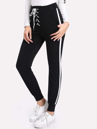 Pantalones de rayas laterales con cordón