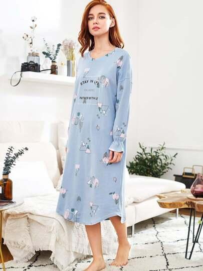 Cartoon Print Layer Frill Cuff Night Dress