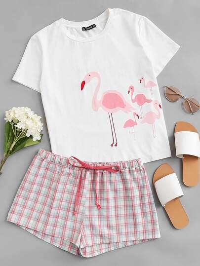 Conjunto de pijama con flamenco de cuadros
