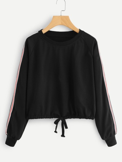 Sweat-shirt avec manche bicolore avec cordon du pan
