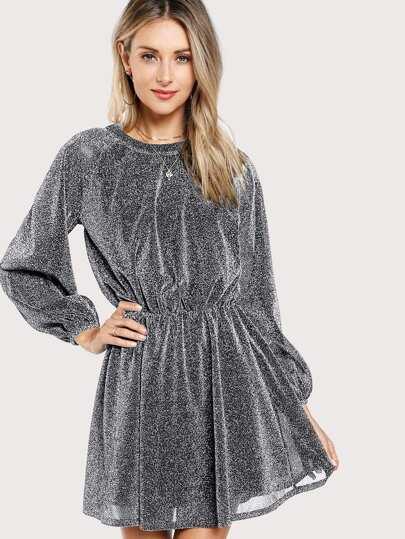 Bishop Sleeve Glitter Dress