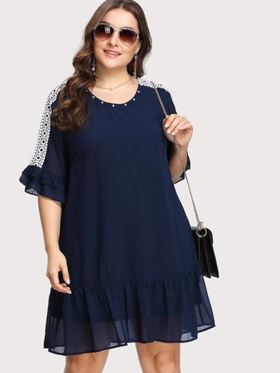 Studded Neck Lace Accent Ruffle Dress