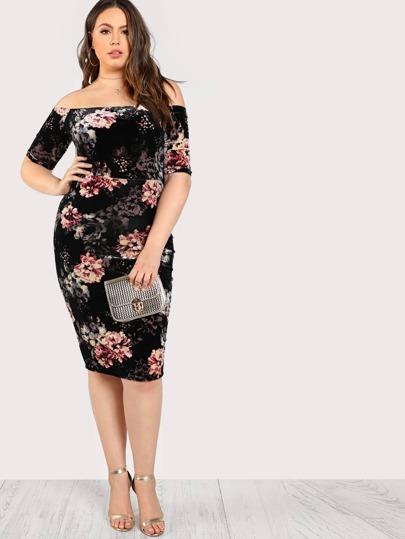 Velvet Floral Print Off Shoulder Dress BLACK