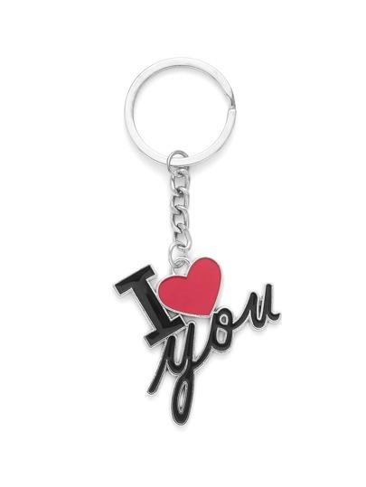 Letter & Heart Design Keychain