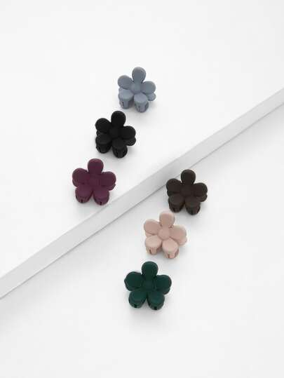 Flower Shaped Hair Clip 6pcs