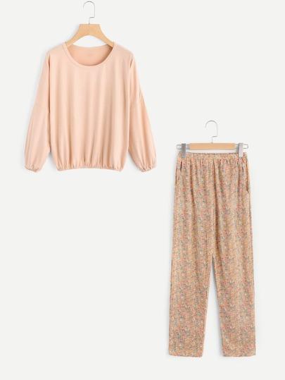 Calico Print Pullover Pajama Set
