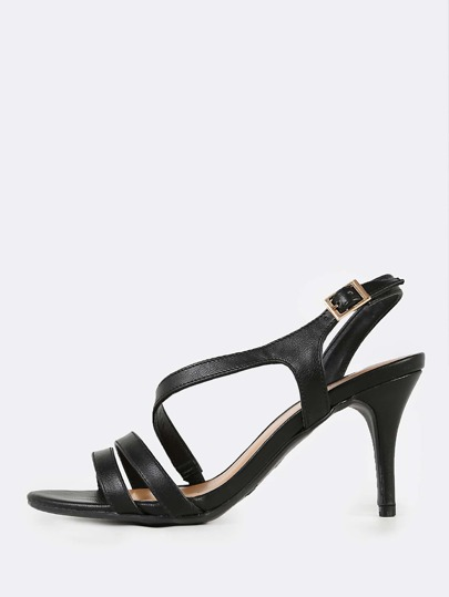 Patent Wrap Around Kitten Heels BLACK