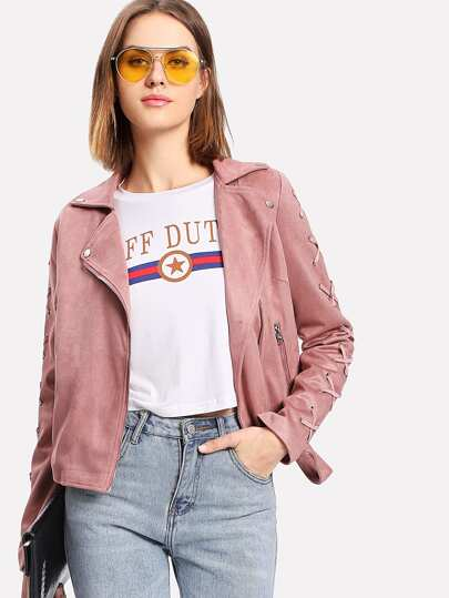 Criss Cross Sleeve Suede Moto Jacket